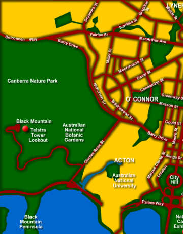 Canberra Australia Map.Canberra Tourist Map Attractions Act