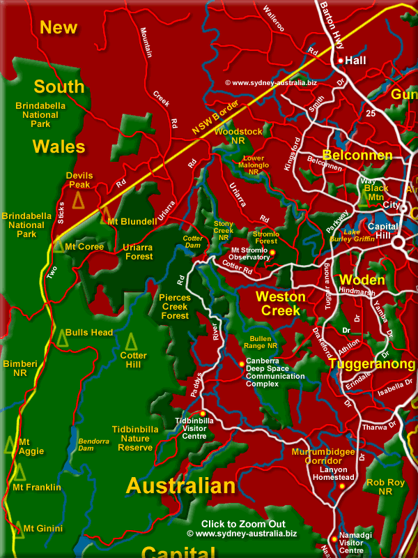 Map of the ACT North West - Click to Zoom Out