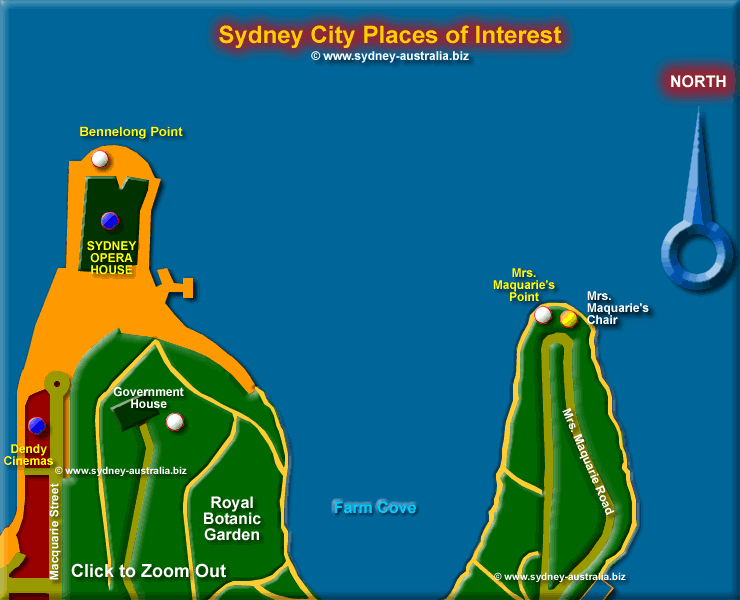 The Sydney Opera House, Farm Cove and the Royal Botanic Garden - Click to Zoom Out © www.sydney-australia.biz