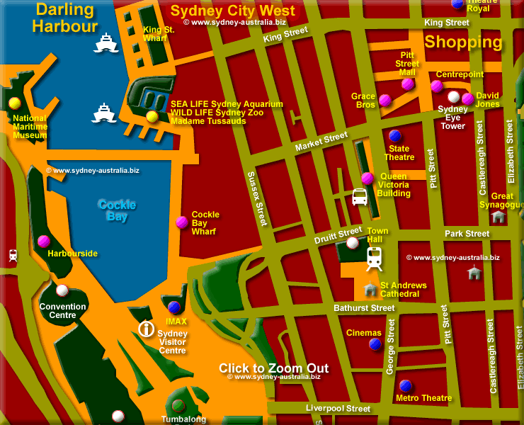 Attractions and Museums of Darling Harbour - Click to Zoom Out © www.sydney-australia.biz