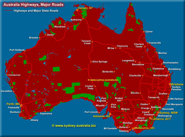 Highway Map of Australia - Click to see the Australia Rail Map