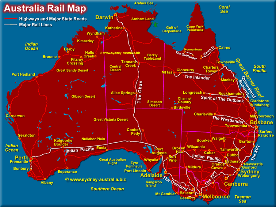 Major Rail Lines Map of Australia - Click to see the Australian Airports Map