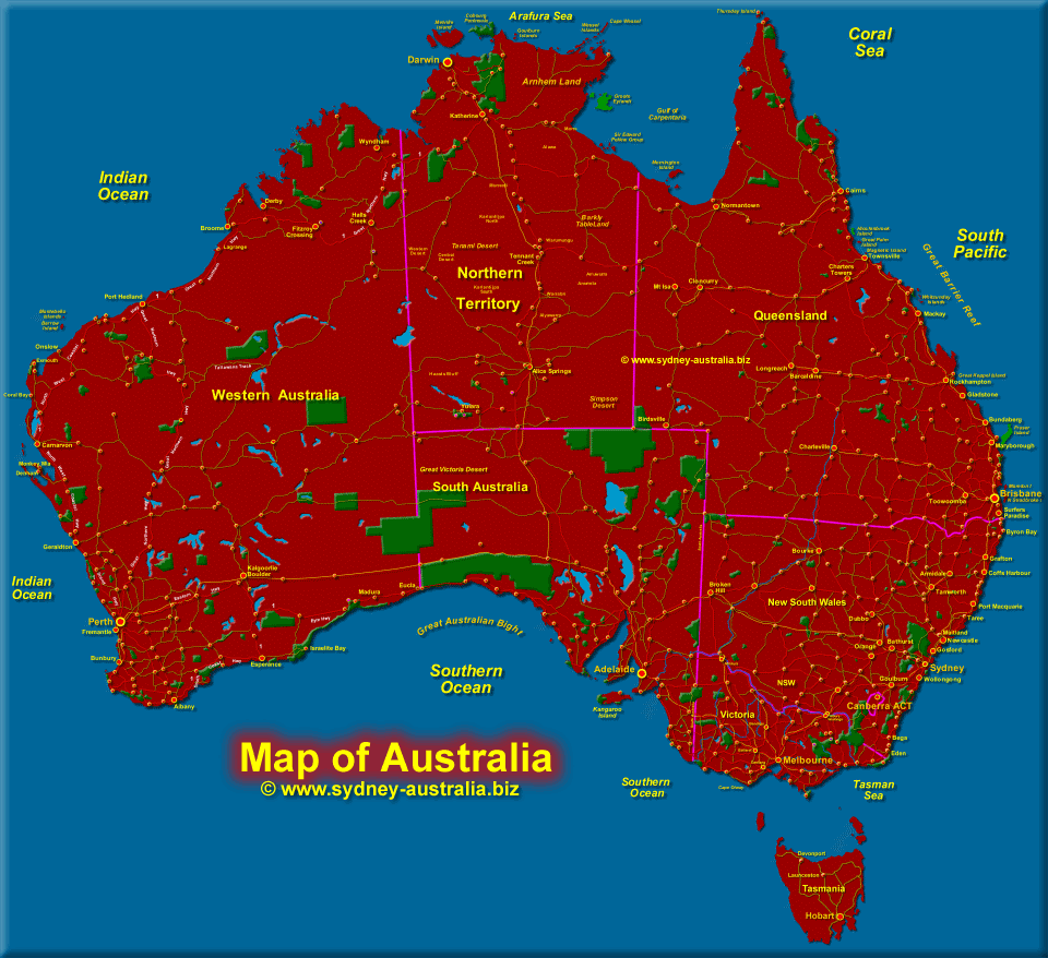 Map showing Tasmania and the Continent of Australia - Click to see the States Map
