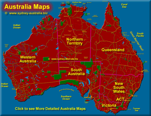Map Of Australian States Australia Maps   States, Cities and Regions