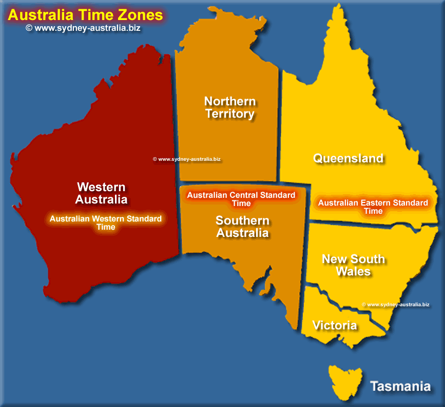 Map showing Time Zones for Australia