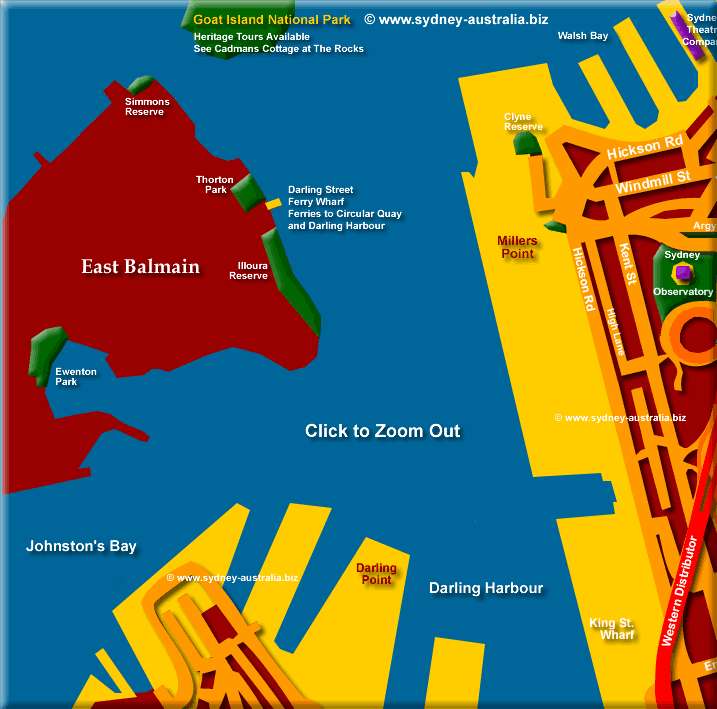 Map of Balmain and Entrance to Darling Harbour - Click to Zoom Out © www.sydney-australia.biz
