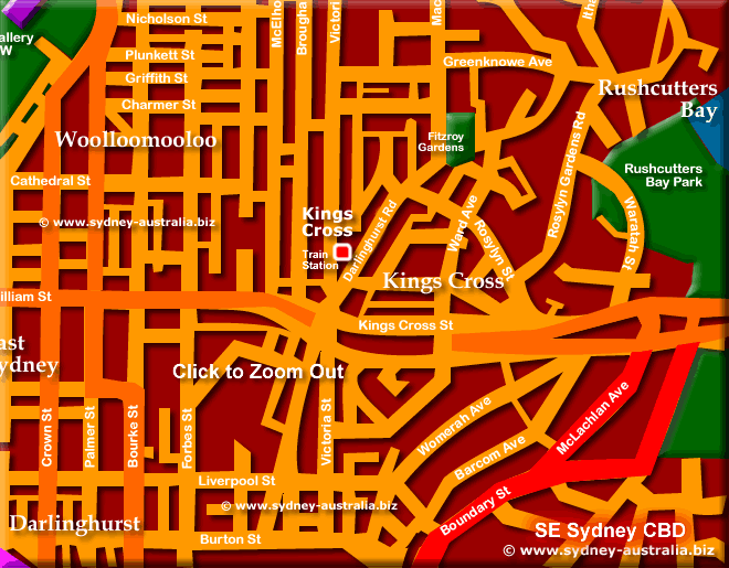 Sydney City Map - Click to Zoom Out © www.sydney-australia.biz