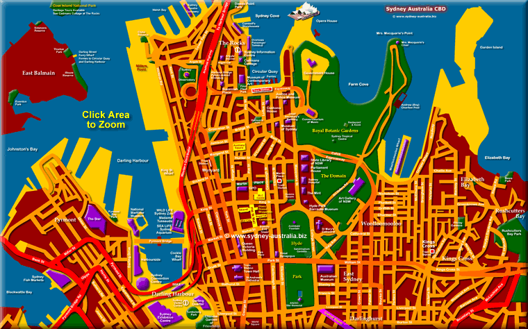 Map of Inner Sydney Australia City Places Info What to Visit
