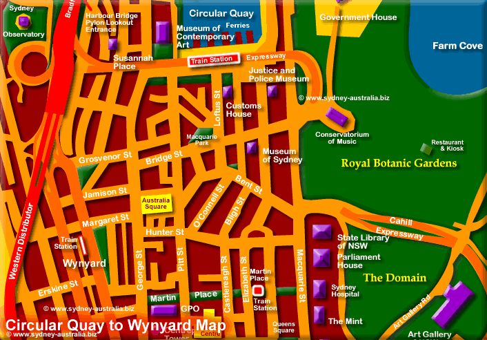 Sydney Transport Hubs, Wynyard and Circular Quay - Click to Zoom Out