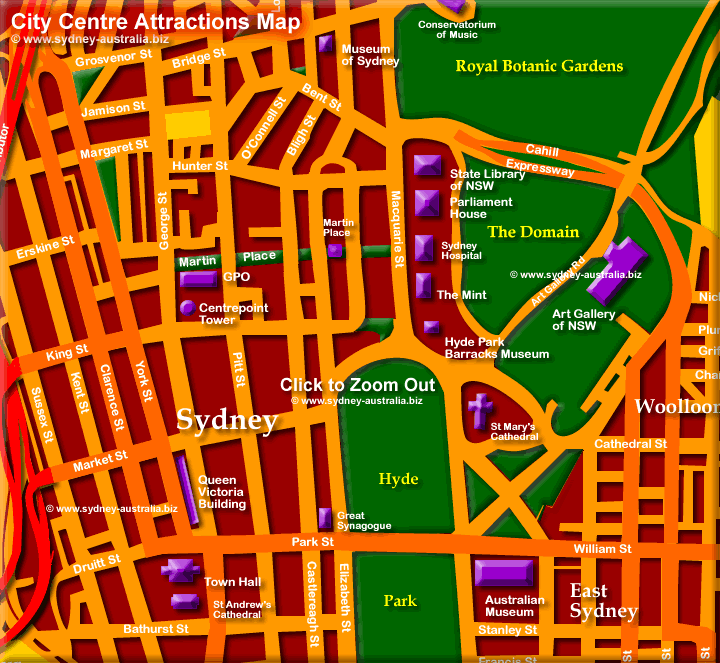 Sydney CBD Map of Attractions. Click to Zoom Out: © www.sydney-australia.biz