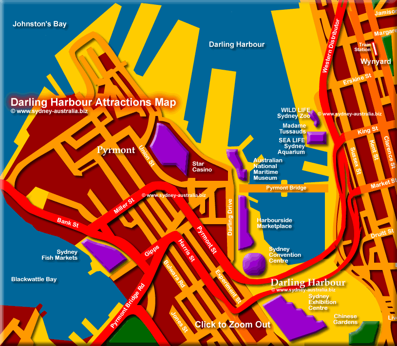 Darling Harbour Map Sydney Tourist Attractions