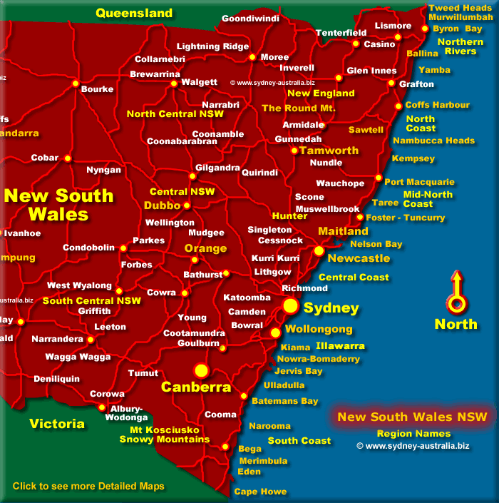 Map of the east coast of New South Wales - Click to see more detailed Maps