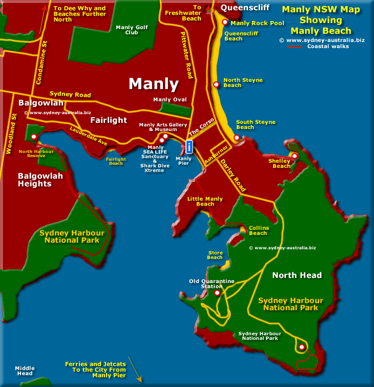 Manly Beach Map and Sydney Australia Maps