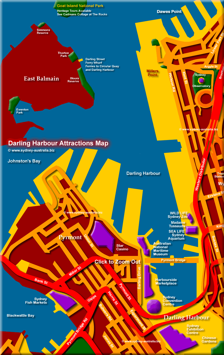 Map of Darling Harbour, Sydney Attractions and Museums. Click to Zoom Out © www.sydney-australia.biz