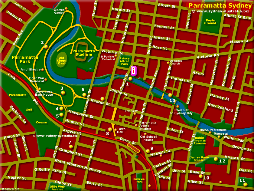 Parramatta Map, Sydney Australia - Click to see more Information
