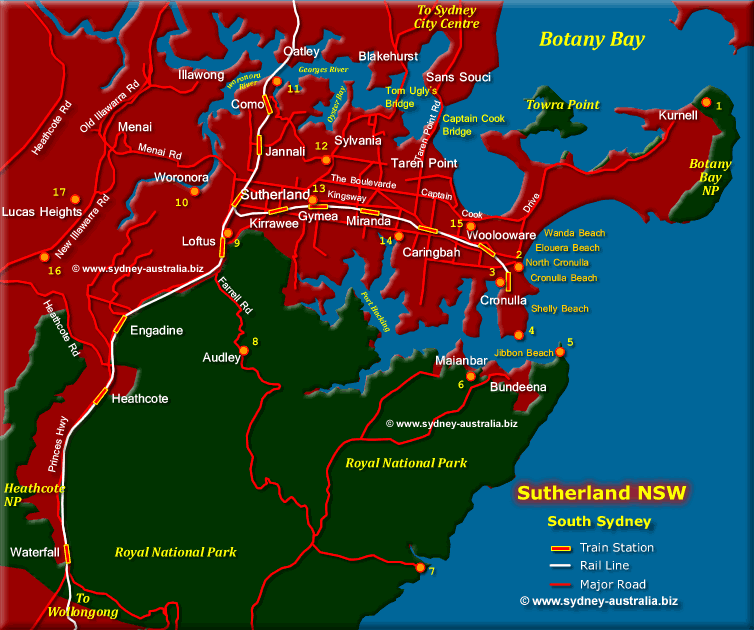 Sutherland south sydney map sutherland shire south sydney map click to zoom out gumiabroncs Images