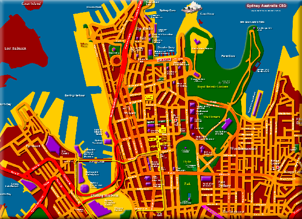 Sydney Australia Map showing Attractions and Places to Visit - Click to Zoom