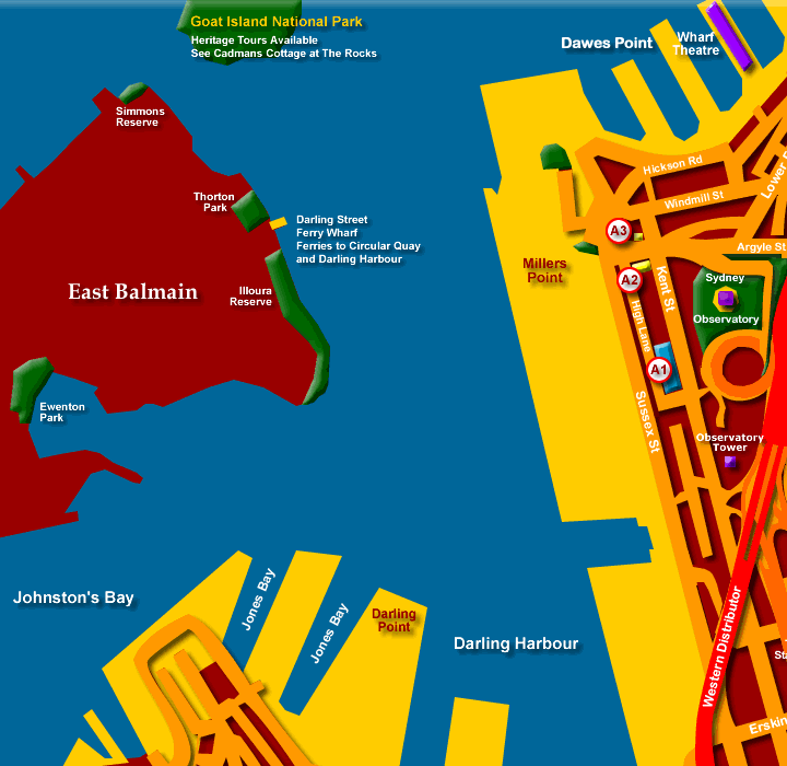Map of Balmain and Entrance to Darling Harbour - Click to Zoom Out