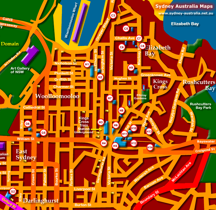 Sydney City Hotels Map - Click to Zoom Out