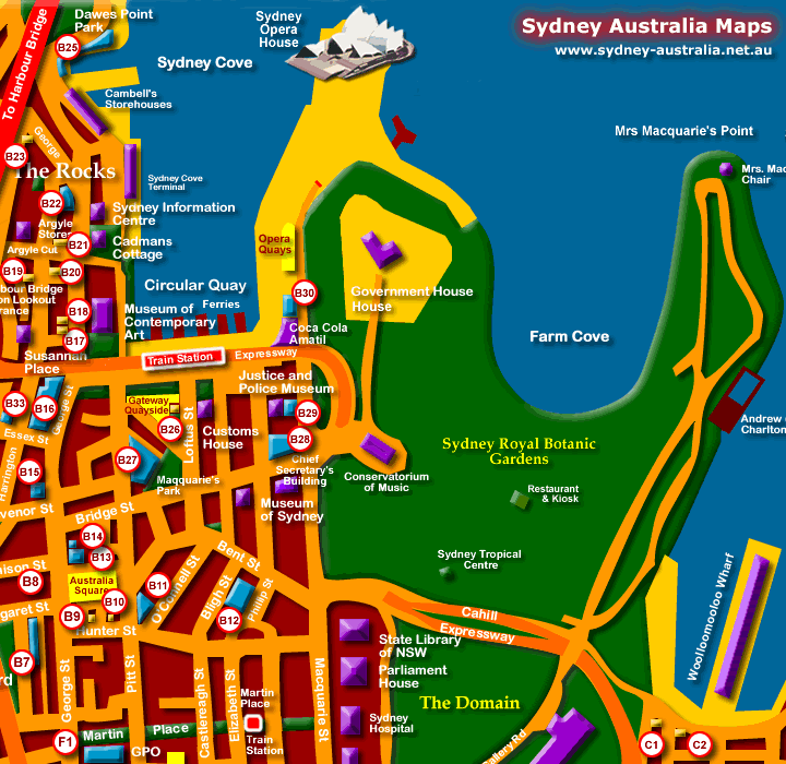 Map of Hotels in Sydney CBD - Click to Zoom Out