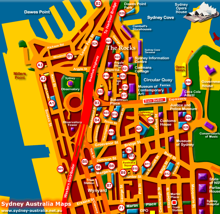 Map of Hotels and Accommodation - Click to Zoom Out