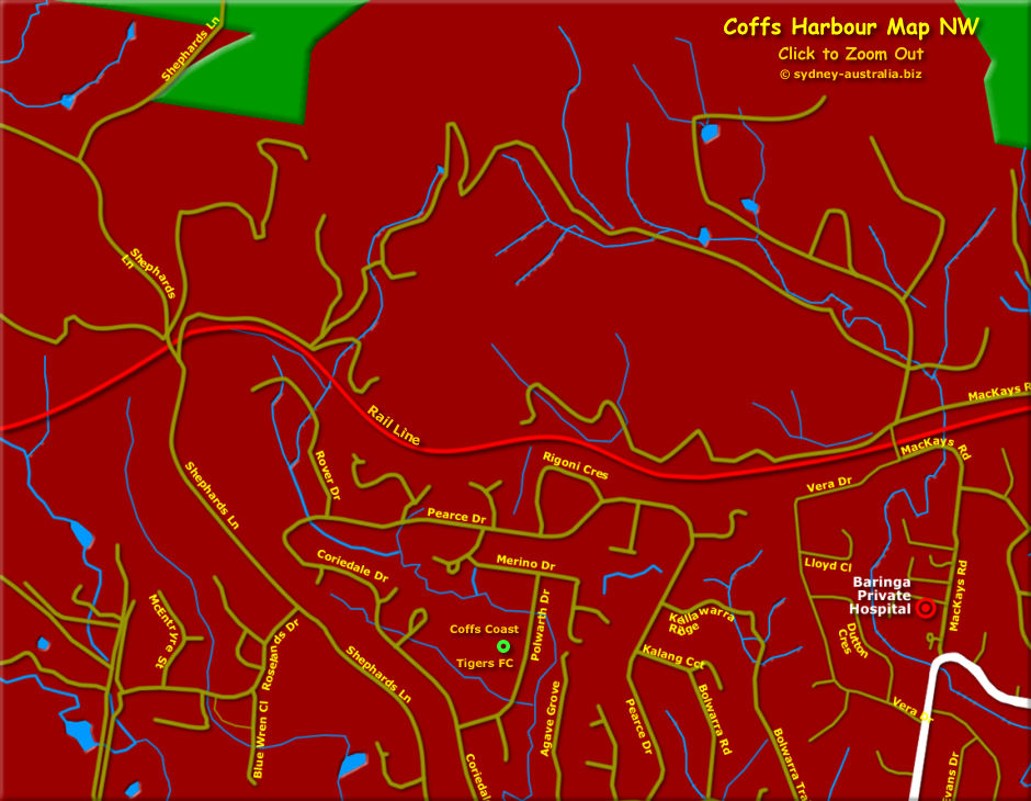 Map of Coffs Harbour North West - Click to Zoom Out