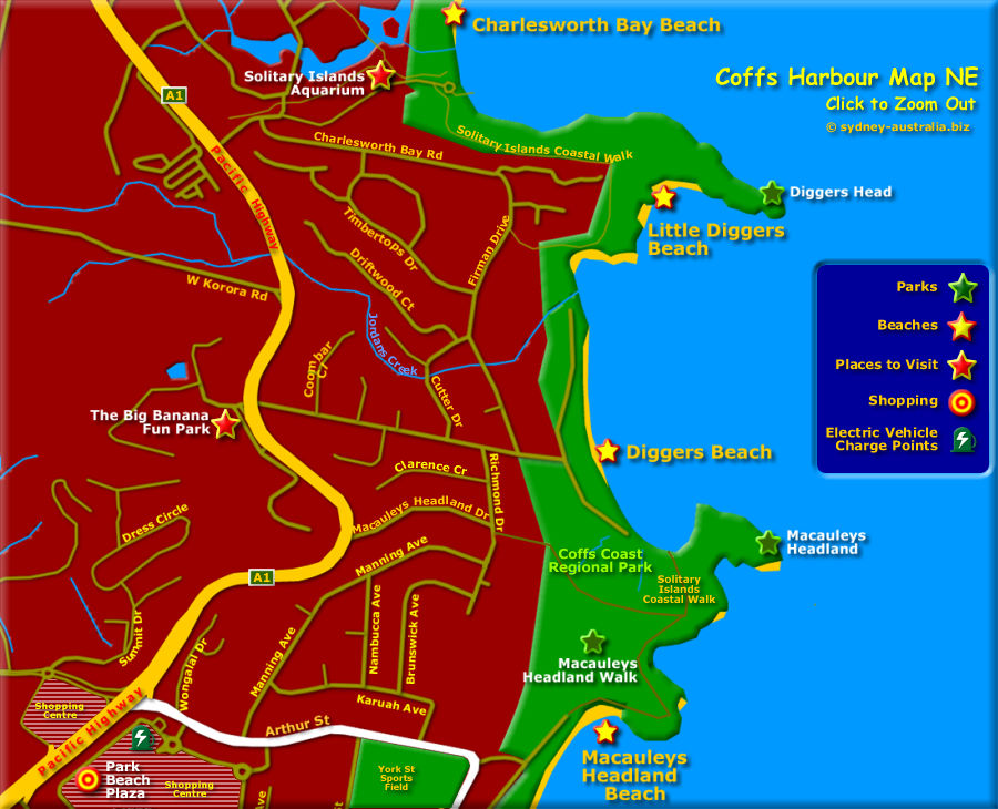 Coffs Harbour Map, North West - Click to Zoom Out