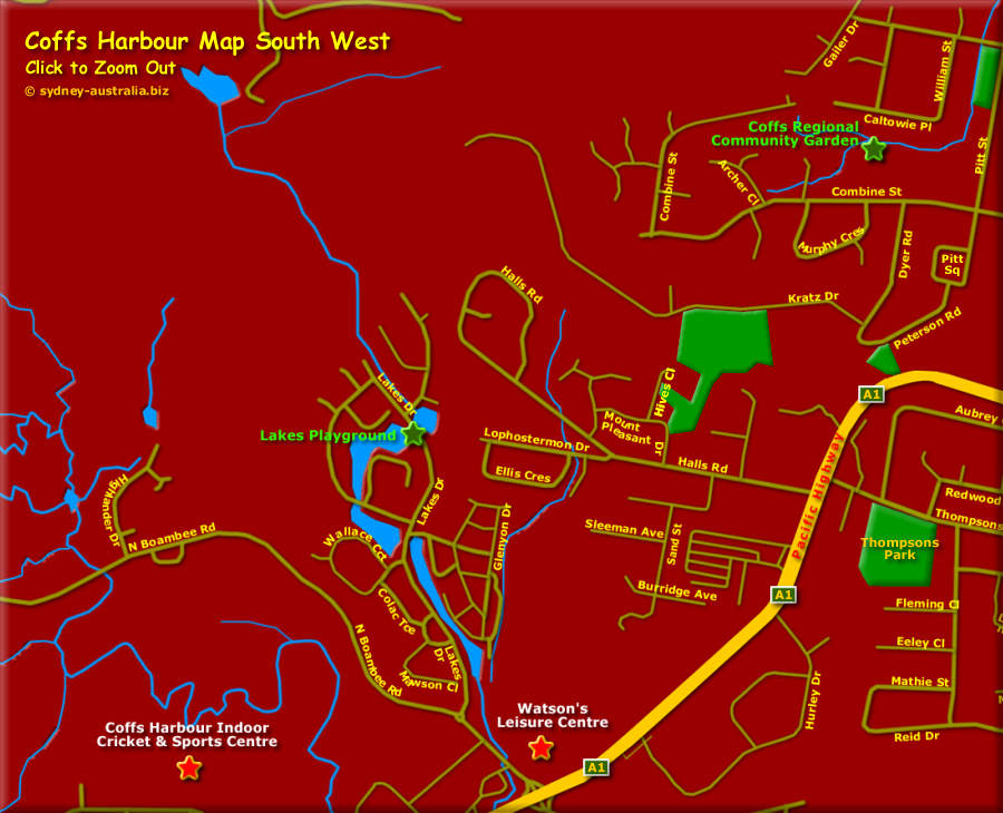 Map showing Coffs Harbour, South West - Click to Zoom Out