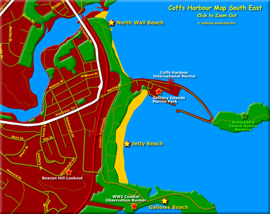 Map showing Coffs Harbour, South East - Click to Zoom Out