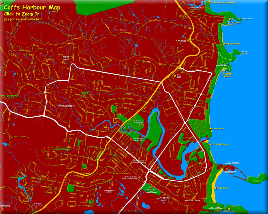 Map of Coffs Harbour Click to Zoom In