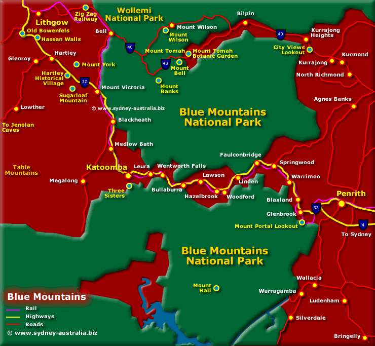 Map of the Blue Mountains - Click to see More Information