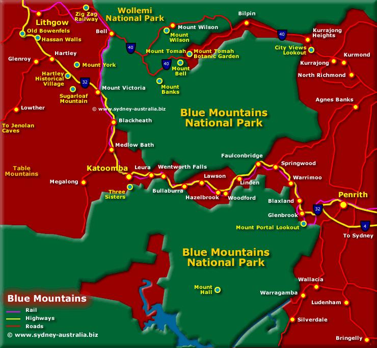 Australia Map Mountains.Blue Mountains Map Nsw