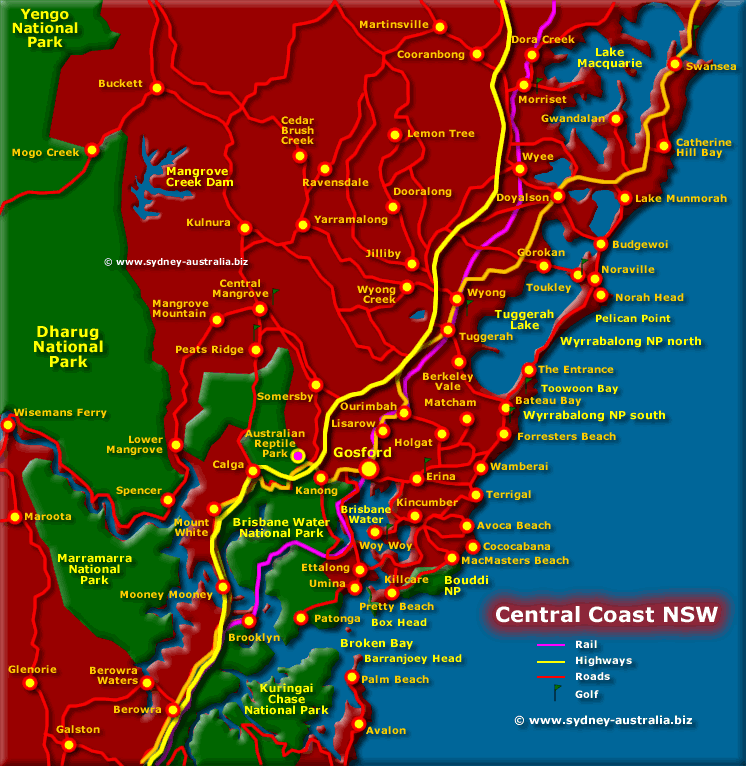 Central Coast Map NSW Beaches National Parks Towns