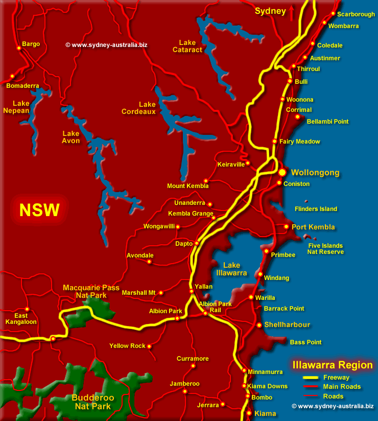 Illawarra and Wollongong Map NSW