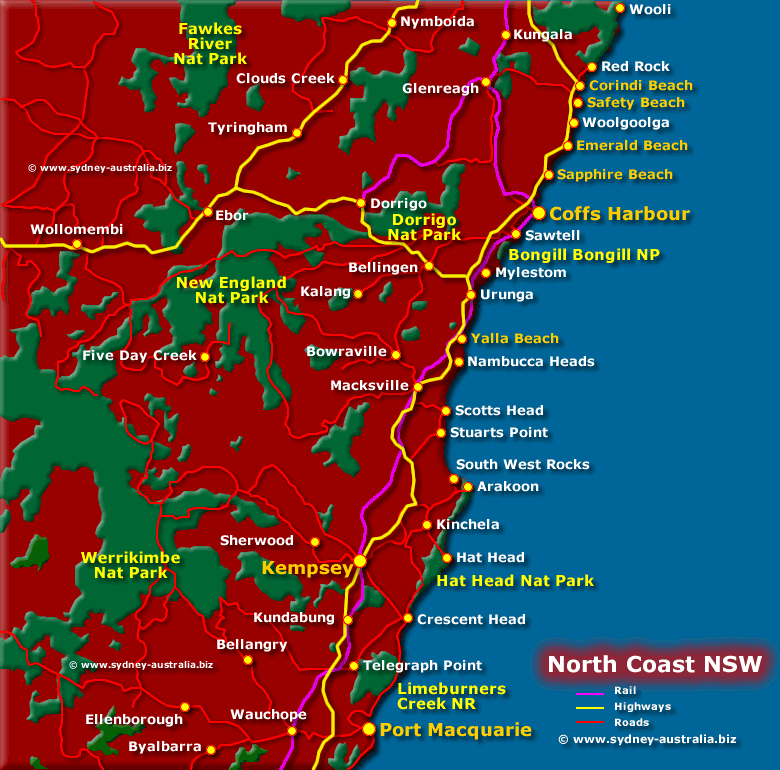 Nsw North Coast Map North Coast Map NSW   Attractions, Places of Interest