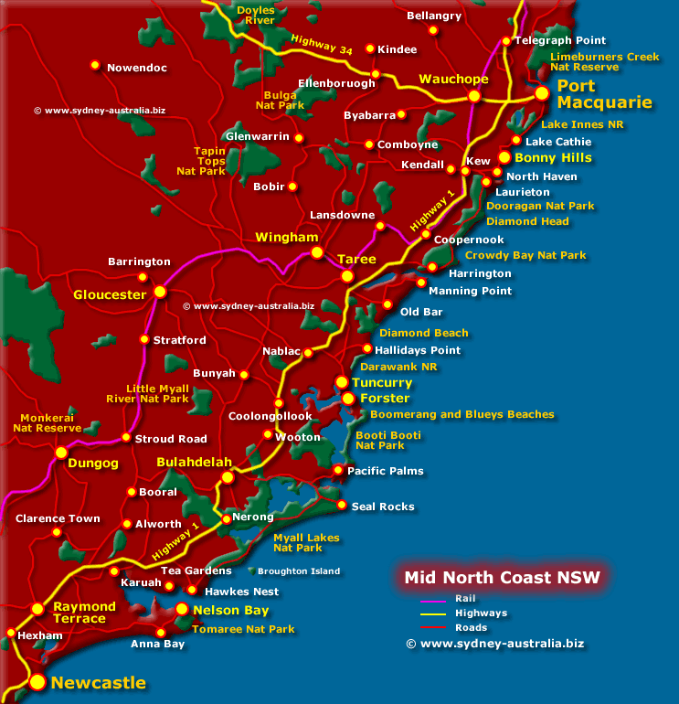Map Nsw Coast Map of the North Coast NSW