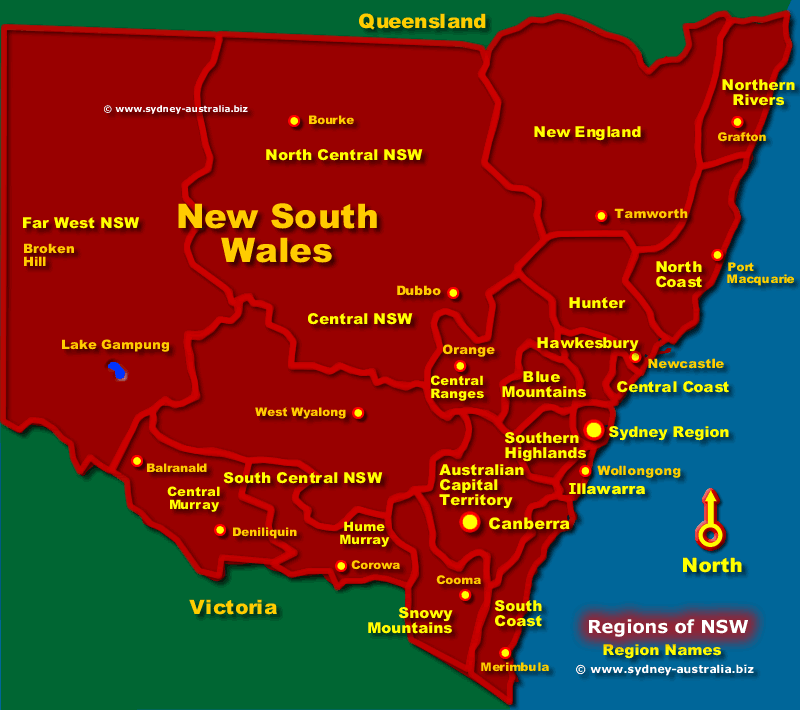 NSW Regions Map Australia Tourist Information
