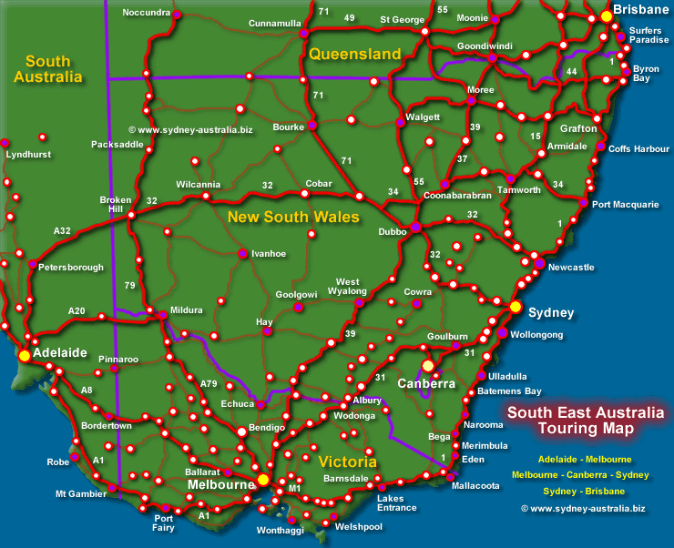 Map of the New South Wales and Major Routes - Click to see About NSW