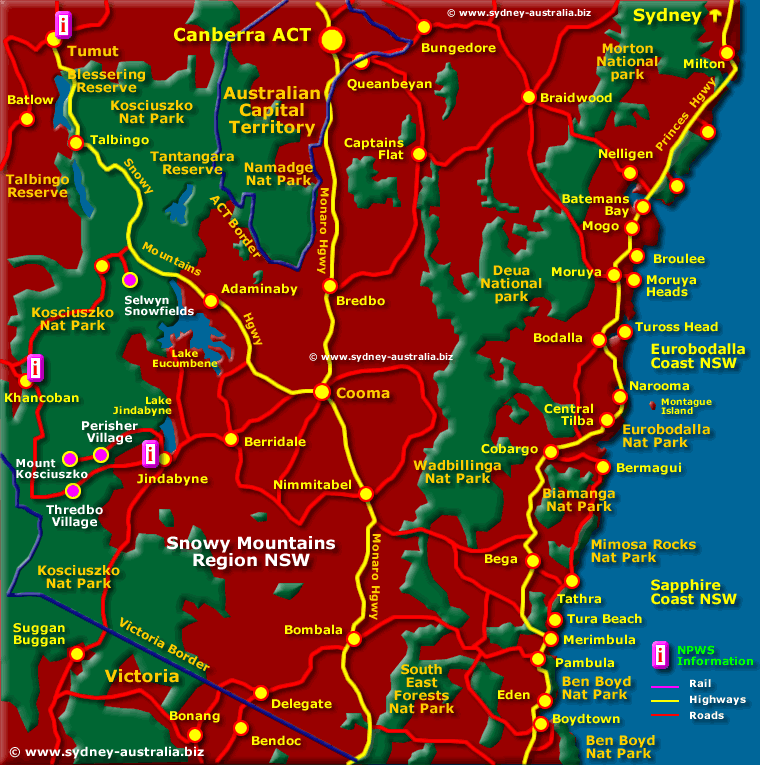 Map of the Snowy Mountains - Click to see More Information