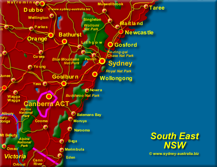 Map of New South Wales South East - Click to Zoom Out