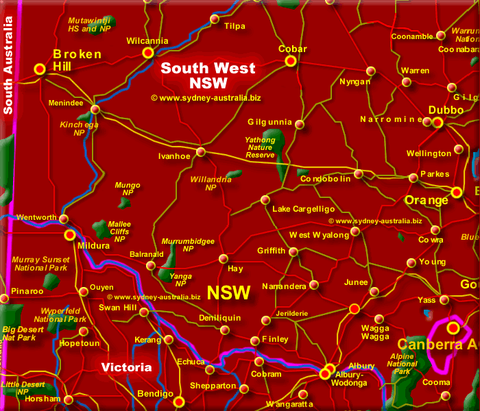 Map of New South Wales South West - Click to Zoom Out