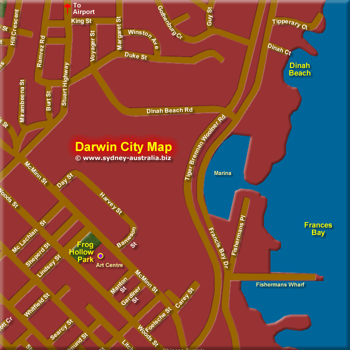 Map of Darwin City North East - Click to Zoom Out