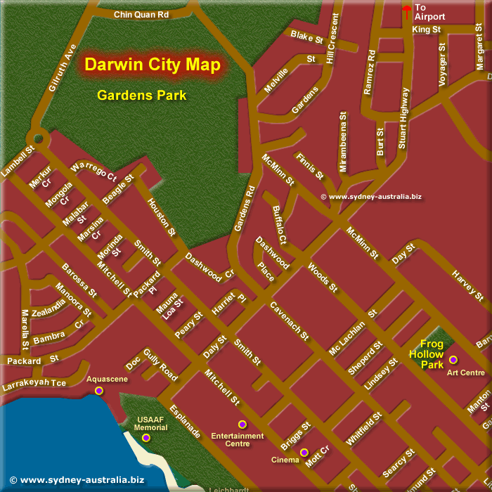 Map of Darwin Inner City North West - Click to Zoom Out