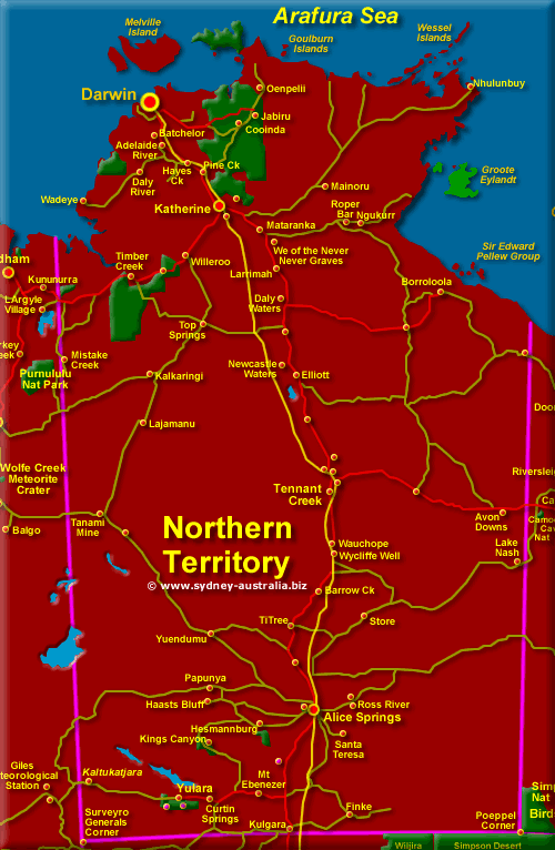 Map of The Northern Territory, Australia - Click for More Detailed Map
