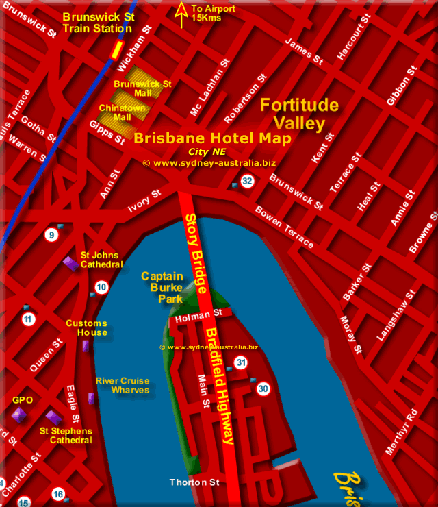 Brisbane City Hotels - Click to Zoom Out