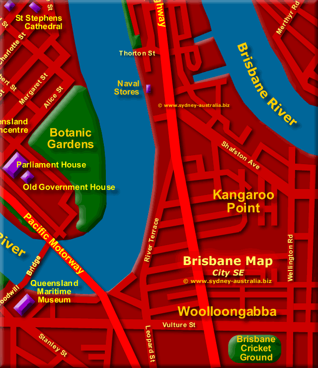 Map of Brisbane Central South East- Click to Zoom Out