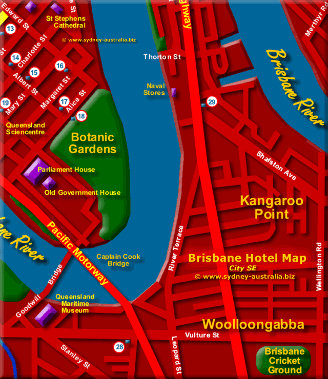 Map of Brisbane Hotels South East- Click to Zoom Out