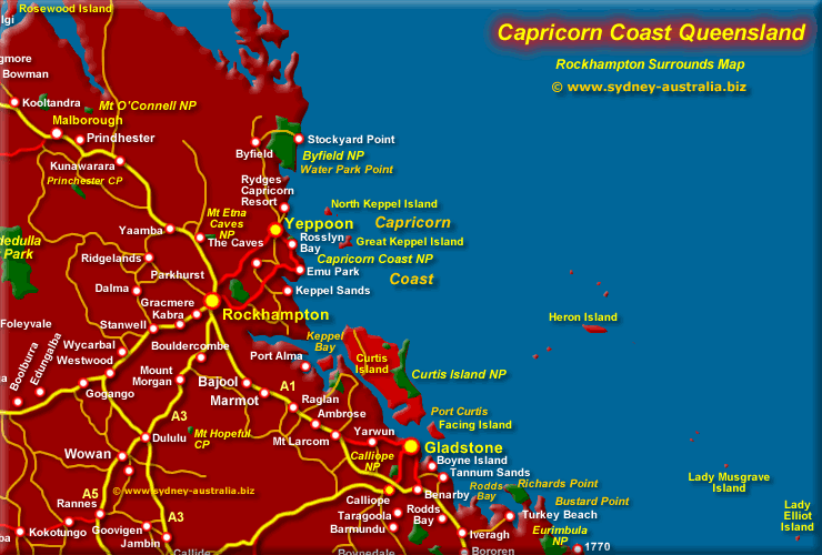 Capricorn Coast Map QLD