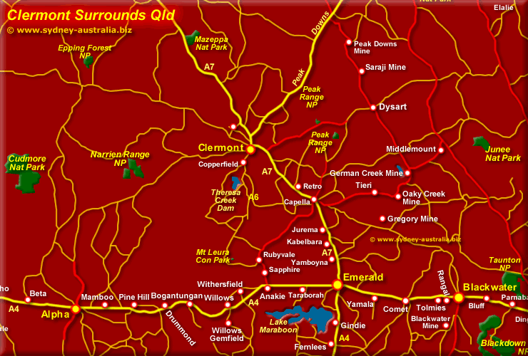 Clermont Qld Map Surrounds