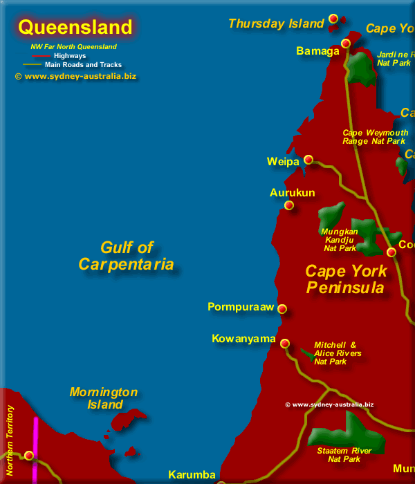 Map of Queensland, Far North West - Click to Zoom Out